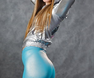 Next door girls in tight shiny lycra clothes