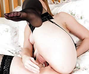 In this set I start off with a little teasing striptease down to my sexy stockings and heels. Then I open up my pussy fo