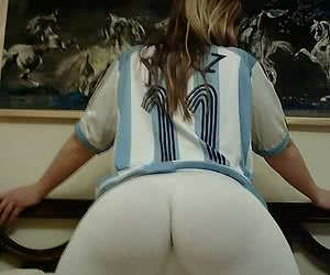 Adorable blonde girlfriend spreading her hot round ass in the bed