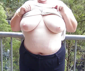 Chubby women showing their good sized tits
