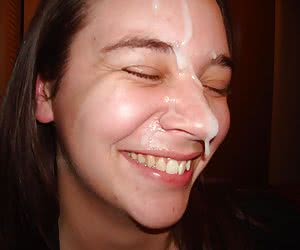 A chicks giving a blowjob and taking a facial series