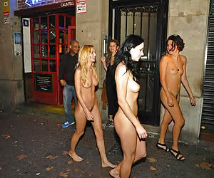 Crazy young girls flashing nude on the night streets