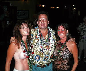 Semi-nude mature people at crazy and sexy night parade