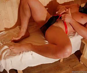 Freak covers his big robust body with warm oil