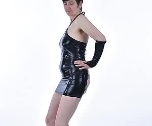 In the new Wetlook dress.Bought a very differently shaped dress.With the matching heels looks the cool I find.