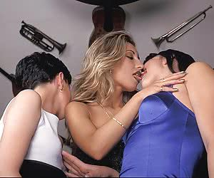 Three hot wives in lesbian orgy