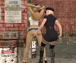Cop girl and a whore in warehouse district