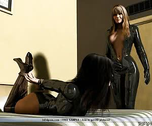 Hot lesbian latex domination with erotic furniture