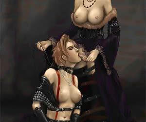 Super-hero and mutant lesbo chicks practicing perverted sex