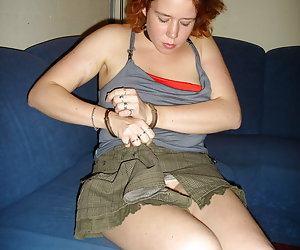 Amateur snapshot pictures of Jessica showing she likes to be a submissive slave having ballgag in her mouth and being ha