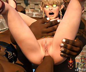 Awesome elf-slave with large bum gets her first assfuck and receive multiple cumshots