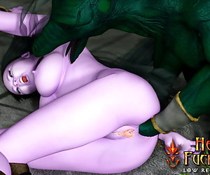 Horny elven bitch is absolutely helpless and fucked deep in all her holes by lizzardman