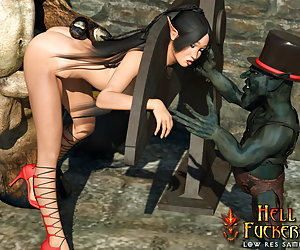 Leggy elf with big boobs suck disgusting cock