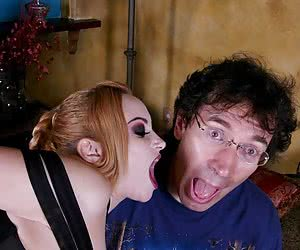Blonde goth drilling by her slave