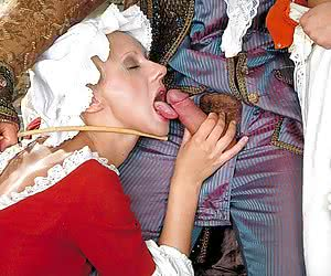 Depraved Duke gets kinky spanking with a switch on two maids
