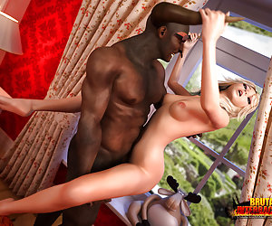 Black sex demon. Images of her grabbing the monster's horns while feeling his giant manhood deep inside of her tight young pussy will haunt her forever making her an insatiable cock-addicted sex freak.