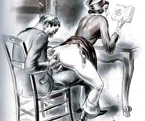 A lot of cock riding and ass digging is shown in these vintage porn comics.
