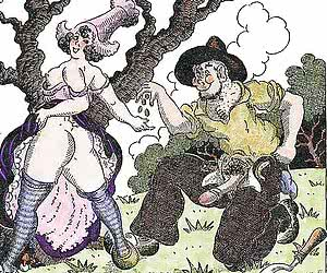 A lot of fairy tales' heroes fuck eagerly in those retro porn drawings.