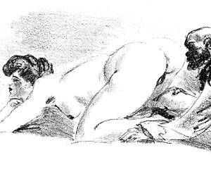 Desirable and lusty people draw vintage sex comics.