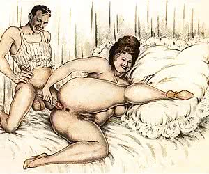 Hardcore anal exploration coexists with tender striptease in vintage porn cartoon.