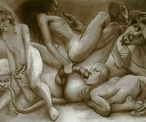 Vintage porn cartoon is filled with lots of gangbang and mature females.