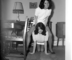 A couple of pretty gals in retro lingerie want to make some nice showoff before the camera