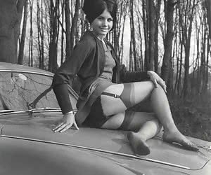 Brunette female seductress proudly shows her legs which look especially sexy in retro lingerie