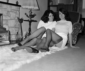 Gorgeous gals do their best to bring you strong pleasure while posing in retro lingerie on the floor