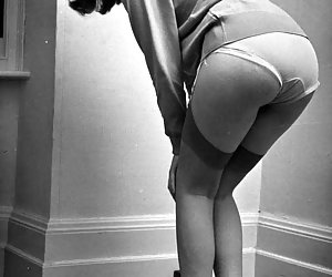 Hot chick shows panties and stockings on the best vintage lingerie pictures on the internet