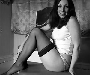Neat chicks in sexy vintage lingerie get their rocks while posing and showing their neat legs