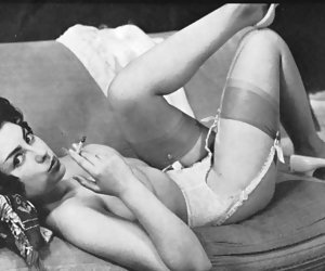 Neat gal makes up her mind to show her body and sexy legs in vintage lingerie one more time