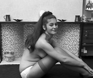 Playful gals lose control while posing on retro lingerie pics in their favorite stockings