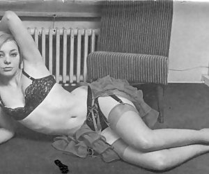 Small-titted chick in black bra performs an unforgettable showoff on vintage lingerie pictures