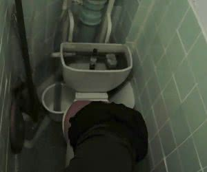 High angle shooting of unsuspicious cutie on the piss-can by toilet voyeur camera