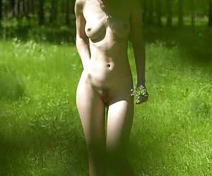 Nude hottie sunbathing in the woods and shining by her ass and titties was caught on hidden camera
